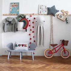 Wandhaken Garderobenhaken Wandgarderobe einfarbig rot Kinder Vintage