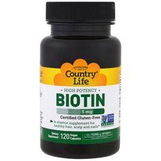 Country Life, ビオチン, 高効力, 5 mg, 120粒(ベーガンカプセル)