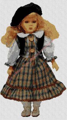 Gráficos a punto de cruz -  Muñeca con boina corta 30 x 54 cm Cross Stitch, Dolls, Vintage, Fashion, Tela, Knitwear, Costume, Hand Made, Crocheting