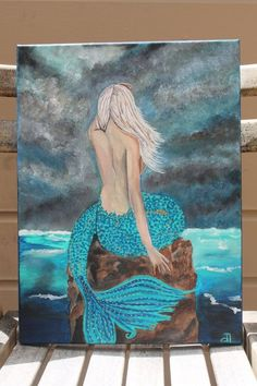 RESERVE for Juanita Mermaid Lady Portrait Acrylic Painting Seascape Figure Solitude Woman Ocean Sea Art Abstract Contemporary Mystical by emily