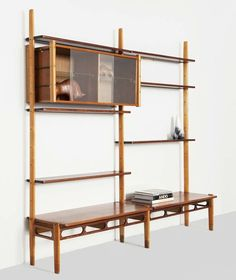 William Watting; Birch, Teak and Glass Shelving Unit for A. Mikael Laursen, 1950s.