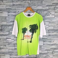 fa29434f Vintage 90's VERSACE T shirt Medium Gianni Versace Jeans Couture Medusa  Italy Designer Versace Coconut Tree Hawaii Green T shirt Size M
