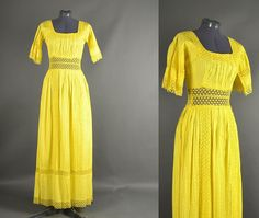 Vintage 1960s Dress 60s Dress maxi crochet lace