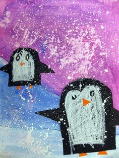 The first grade students created an icy evening landscape showing both a close and distant hill. They discussed how things look when they are close vs. far away, and collaged two penguins into their landscapes. A snowstorm was added last. First Grade Art, 2nd Grade Art, Animal Art Projects, Winter Art Projects, Kindergarten Art, Preschool Art, Penguin Art, Art Lessons Elementary, Art Classroom
