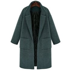 Vintage Lapel Long Sleeve Solid Color Pocket Thick Wool Coat For Women... ($89) ❤ liked on Polyvore featuring outerwear, coats, lapel coat, vintage wool coat, plus size wool coats, green wool coat and womens plus coats