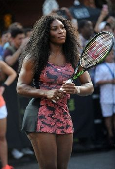 "Serena Williams Photos - Tennis player Serena Williams attends Nike's ""NYC Street Tennis"" Event on August 2015 in New York City. Serena Williams Photos, Serena Williams Tennis, Venus And Serena Williams, American Tennis Players, Tennis Players Female, Serena Tennis, West Palm Beach, Tennis Clothes, Angeles"