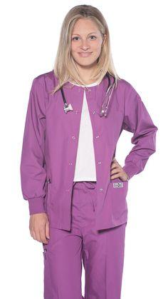 Women's Snap Jacket Warm Up Uniform Scrub