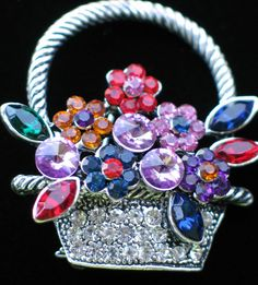 """SILVER RHINESTONE SPRING MOTHER'S DAY EASTER BOUQUET FLOWER BASKET PIN BROOCH 2"""" #Unbranded #PINBROOCHJEWELRY"""