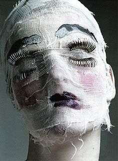 Wow, that would make a creepy character head with just the styrofoam head, gauze and a few make up accessories.