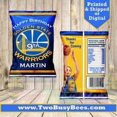 Golden State Warriors Inspired custom Theme Chip Bags. Can be used for your graduation, birthday party, baby or bridal shower. Wording can be changed to match your event. Order chip bags and stuff with your favorite treats like popcorn, chips, candy, cotton candy, toys and so much more! Two Busy Basketball Party Favors, Basketball Birthday Parties, 18th Birthday Party, Birthday Party Themes, Stephen Curry Birthday, Golden State Warriors Basketball, Book Baskets, Skate Party, Chip Bags