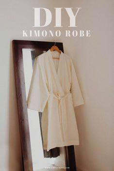 Kimono Sewing Pattern, Linen Dress Pattern, Sewing Patterns Free, Free Sewing, Clothes Patterns, How To Make Kimono, How To Make Clothes, Making Clothes, Dressing Gown Pattern