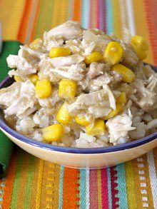 Chicken Chili Verde in the crock pot  Used 3 skinless boneless chicken breast and jarred salsa