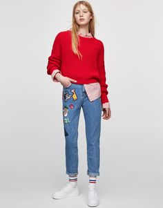 Mom fit denim met patches - Jeans - DENIM - HIDDEN - PULL&BEAR Netherlands