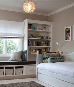 child's room : storage solutions : pillows : window seat