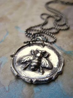 Bee Jewelry, Honey Bee Wax Seal Necklace by HappyGoLicky Jewelry