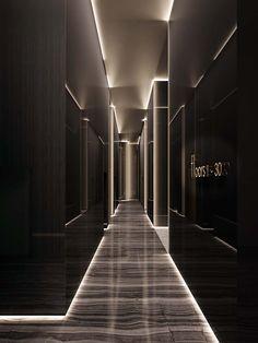 hotel hallway hotel corridor hotel corridor Minimalist Opulence by EDGE Architects Dream House Interior, Luxury Homes Dream Houses, Dream Home Design, Modern House Design, Home Interior Design, Interior Garden, Hotel Lobby Design, Elevator Lobby Design, Hotel Corridor