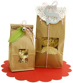 Brown paper sacks with red baker's twine, glitter monogram letters, and doilies. Creative Gift Baskets, Creative Gifts, Creative Art, Diy Gifts, Great Gifts, Fun Crafts, Arts And Crafts, Christmas Holidays, Christmas Gifts
