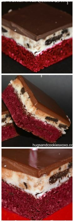Red Velvet Oreo Cookie Dough Brownies - Hugs and Cookies XOXO