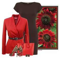 """Crimson Sunflowers"" by sassafrasgal ❤ liked on Polyvore featuring WearAll, Semon Cashmere, Neiman Marcus, Christian Louboutin and Seaman Schepps"