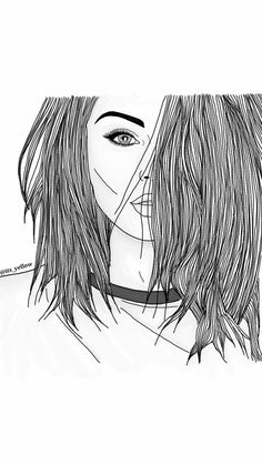 Outlines Outline Tumblr Girl Draw Illustration Digital Art - Hairstyle drawing tumblr