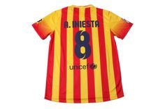 Barcelona away soccer jersey 13-14 season A.INESTA football shirt