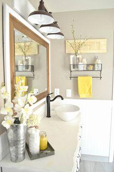 How to Easily Mix Vintage and Modern Decor - Little Vintage Nest Vintage Farmhouse Bathroom Decor Farmhouse Bathroom Accessories, Yellow Bathroom Decor, Modern Farmhouse Bathroom, Yellow Bathrooms, Vintage Farmhouse, Bathroom Wall Decor, Bathroom Colors, Bathroom Interior, Small Bathroom