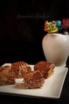 Prajitura cu crema de ciocolata si blat cu nuca Something Sweet, Cereal, Recipies, Muffin, Sweets, Breakfast, Meringue, Food, Cakes