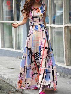 Round Neck Florals Maxi Dress