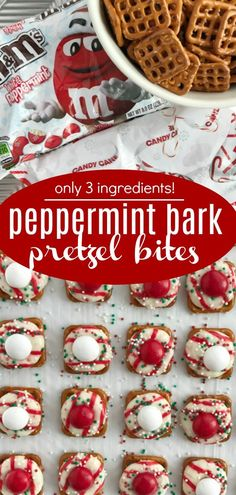 Peppermint bark pretzel bites with a Candy Cane Hershey kiss, on top of a pretzel, and topped with a peppermint white chocolate m&m. So easy to make too! Holiday Cakes, Holiday Desserts, Holiday Baking, Holiday Treats, Christmas Baking, Holiday Recipes, Christmas Recipes, Christmas Treats To Make, Christmas Ideas