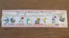 young women virtue charms   YW Values Charm Bracelet with Colored Beads LDS by PrincessCameos