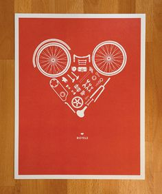 Disassembled Bicycle Heart Print - Fine Art Print. $30.00, via Etsy.