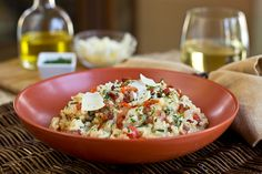Creamy, Three-Cheese Risotto with Bacon, Spinach and Tomato