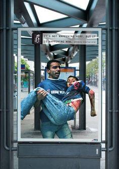 Top 12 des affiches chocs d'Amnesty International, les trompe-l'oeil à l'arrêt de bus