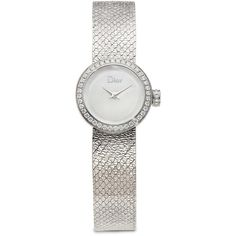 La D de Dior Diamond & Stainless Steel Bracelet Watch ($5,195) ❤ liked on Polyvore featuring jewelry, watches, apparel & accessories, silver, stainless steel watch bracelet, christian dior watches, polish jewelry, stainless steel wrist watch and white faced watches