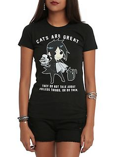 Black Butler Cats Are Great Girls T-Shirt, BLACK