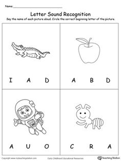 Learn the beginning sound of the letter A by practing pronouncing the name of the pictures that begin with the letter A. Recognizing letter sounds is essential in reading and writing and are the basic building blocks of literacy learning. Nursery Worksheets, Letter Worksheets For Preschool, Kindergarten Coloring Pages, Preschool Writing, Alphabet Worksheets, Alphabet Activities, Printable Alphabet, Printable Flashcards, Preschool Alphabet