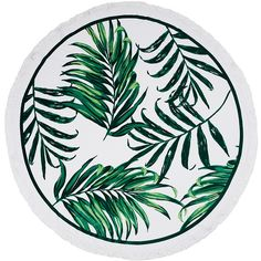 Palm & Peach Mustique Round Towel ($98) ❤ liked on Polyvore featuring home, bed & bath, bath, beach towels, fillers, beach, backgrounds, other, circles and green