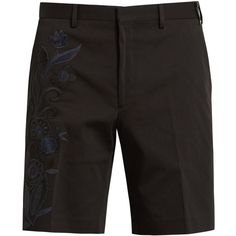 Fendi Floral-embroidered cotton-blend shorts (32.135 RUB) ❤ liked on Polyvore featuring men's fashion, men's clothing, men's shorts, old navy mens shorts and mens navy blue shorts