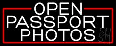 White Open Passport Photos With Red Border Neon Sign
