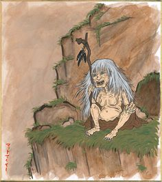 "Yama Uba by GENZOMAN Yama-uba (山姥?, mountain crone) is a yōkai (""spirit"" or ""monster"") found in Japanese folklore. The name may also be spelled Yamamba or Yamanba. She is sometimes confused with the Yuki-onna (""snow woman""), but the two figures are not the same. Yama-uba looks like an old woman, usually a hideous one and her kimono is filthy and tattered. Her mouth is sometimes said to stretch the entire width of her face, and some depictions give her a second mouth at the top of her head."