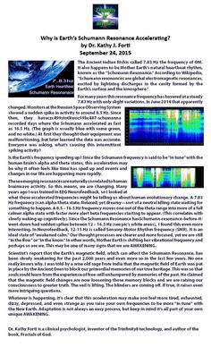 Why is Earth's Schumann Resonance Accelerating? by Dr. Kathy J. Forti. September 24, 2015.