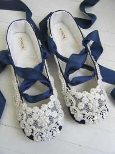 Something Blue Wedding Shoes Bridal Ballet Flats by BobkaBaby, $199.00