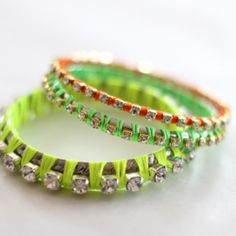 Create these sparkly rhinestone bangles in shades of neon using bangles, neon embroidery floss and rhinestone chains.