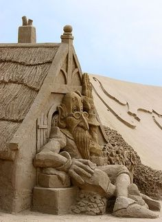 Sand Sculptures have always blown my mind, I have trouble making a baby castle with a bucket.  I don't know how people do it.