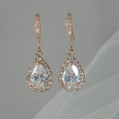 Rose Gold Bridal earrings Wedding jewelry by CrystalAvenues, $34.00