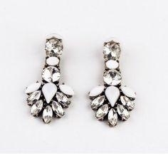 Luxury Women Flower Crystal Clear Drop Bib Statement Stud Earrings Party Gift