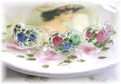 Handpainted Roses on Lucite Acrylic style Rings~Shabby Chic <3