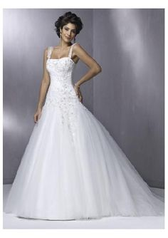 a line wedding dress with straps.....in ivory or soft blue would be awesome!!!