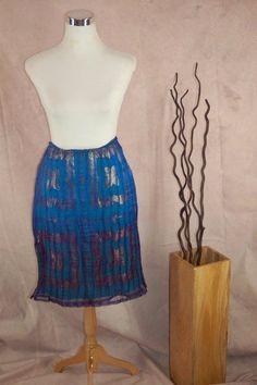 Custo Barcelona Sheer Overlay Skirt M Turquoise Purple Metalic