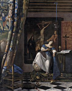 Allegory of the Catholic Faith by Johannes Vermeer via European Paintings Medium: Oil on canvas The Friedsam Collection, Bequest of Michael Friedsam, 1931 Metropolitan Museum of Art, New York,. Johannes Vermeer, National Gallery Of Art, Art Gallery, Painting Gallery, Delft, Caravaggio, Vermeer Paintings, List Of Paintings, Architecture Sketches
